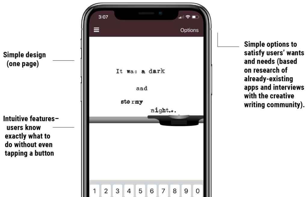 Minimum Viable App example, My Typewriter app