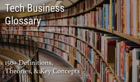 Tech business glossary, definitions, theories, concepts header in a library