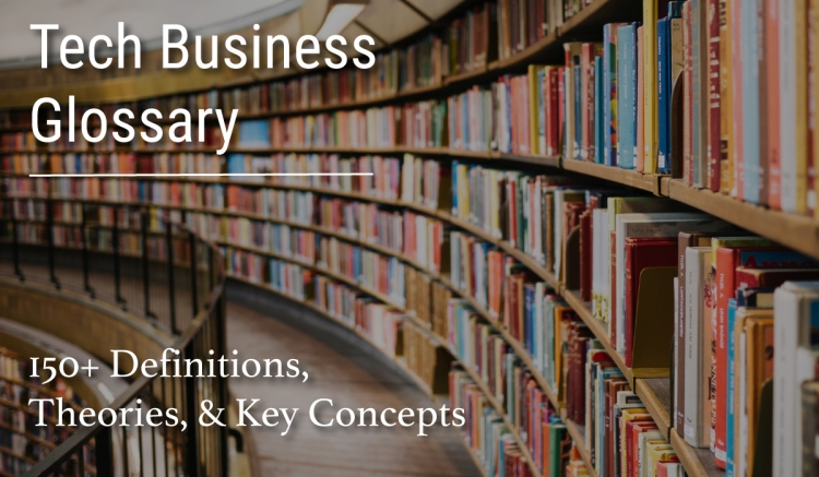 Tech business glossary cover image in library by Winnona Partners